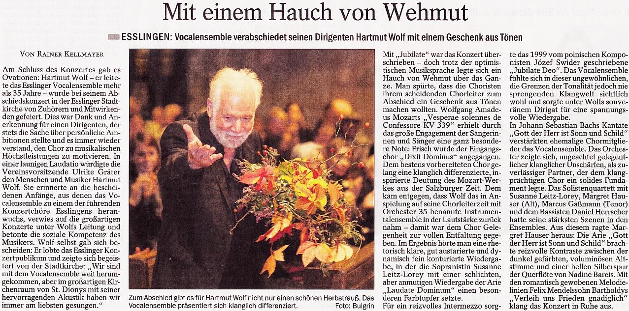 Abschiedskonzert Von Hartmut Wolf, Stadtkirche St. Dionys,